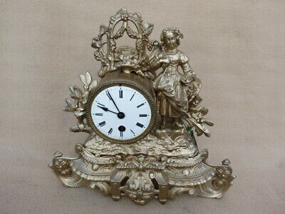 Antique French Gilt Figural 8 Day Mantel Clock For Restoration