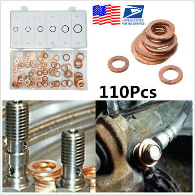 """5//8/"""" 110pc Solid Copper Washers Sump Plug Engine Washer Set Imperial 1//4/"""""""
