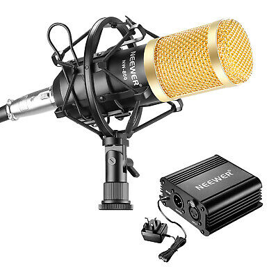 Neewer NW-800 Microphone Black and Phantom Power Kit with Anti-wind Foam Cap