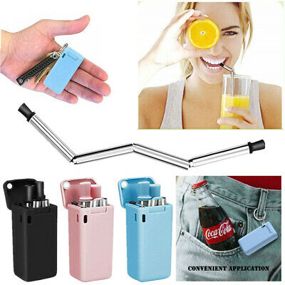 Reusable Collapsible Drinking Straws Stainless Steel Metal Straw Foldable & Case