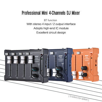 Professional Mini Pocket 4-Channel mono Stereo Audio DJ Sound Mixer USB G8B3