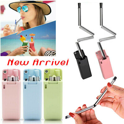 Reusable Collapsible Straw Stainless Folding Outdoor Bar Metal Drinking Straws
