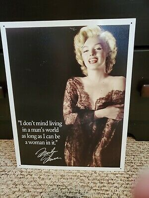 Marilyn Monroe Living in Man/'s World Actress Hollywood Icon Metal Sign