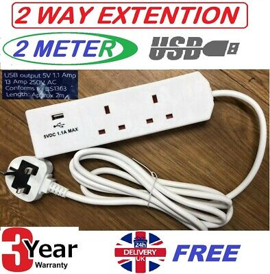 2 Way 2M 13Amp Extension Lead With Usb Port & Surge Protection Uk 3Yr Warranty