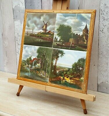 Beautiful Set Of 4 Vintage Dutch Tiles, Printed Countryside Scenes (2 Cracked)