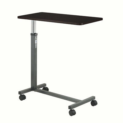 Drive Medical Overbed Table with Rolling Wheels Hospital Mobile Bed Tray Desk