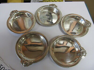 """Rose Handle Sterling Silver Set 5 Small Candy / Nut Dishes 3"""" W Xlnt Cond"""