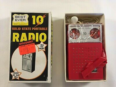 Best Ever Brand 10 Solid State Transistior Radio Red w/ Box Earphone and Case