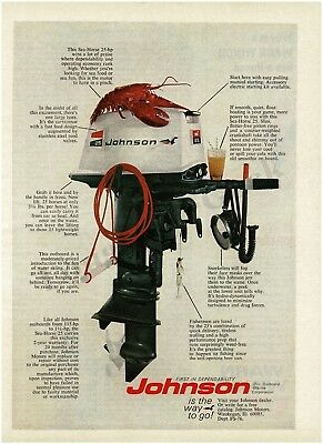 1975 JOHNSON 15 and 9 9hp OutBoard Motor Original Print Ad Fishing