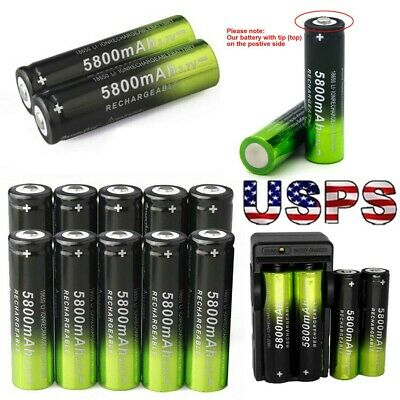 10PCS Skywolfeye Rechargeable 5800mAh Li-ion 18650 3.7V Battery Charger Power