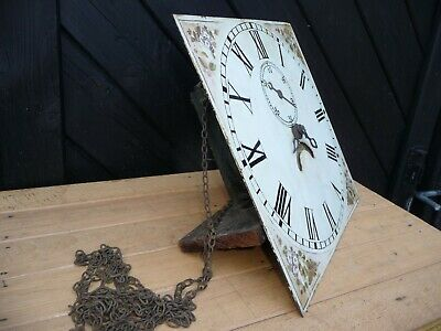 Antique Longcase Clock movement with Dial and weight pulley . For Restoration