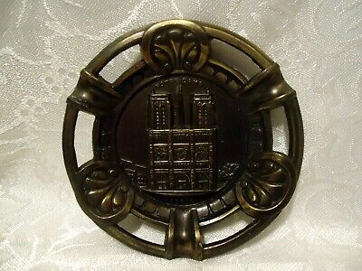 Notre Dame Cathedral Souvenir Metal Ashtray Dish Cutout vintage Paris France