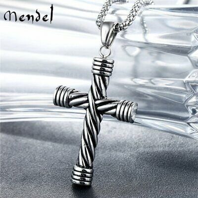 MENDEL Mens Goth Stainless Steel Christian Cross Pendant Necklace For Men Chain