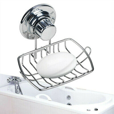 Stainless Steel Suction Cup Soap Dish Wall Holder Basket Bathroom Kitchen Sink
