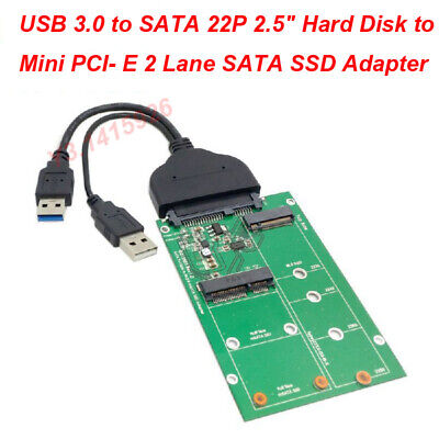 "USB 3.0 to SATA 22P 2.5"" Hard Disk to Mini PCI- E 2 Lane M.2 & mSATA SSD Adapter"