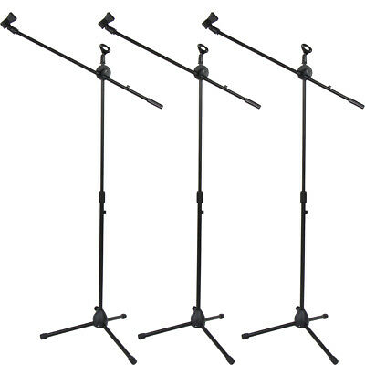 Glarry 3 Pack Microphone Boom Stand Holder Mic Clip Stage Studio Tripod
