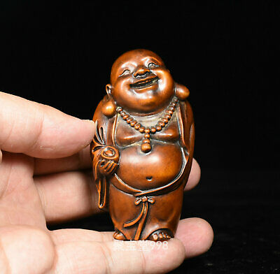 Wood Buddha Happy Statue Laughing Clay Figurine Feng Shui Vintage Chinese Brown