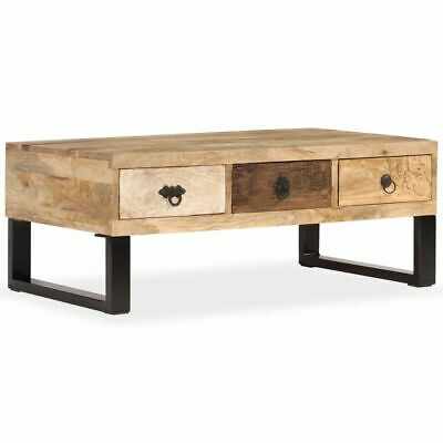 vidaXL Solid Mango Wood Coffee Table with 3 Drawers 90x50x35cm Home Furniture