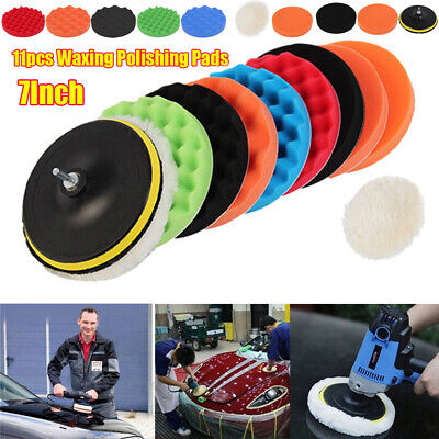 11Pcs 7Inch Sponge Buffing Polishing Pad Kit for Car Polisher with Drill Adapter