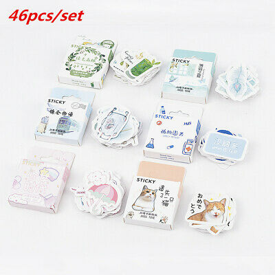 46pcs Lovely Paper Cute Stickers DIY Journal Diary Scrapbooking Stationery
