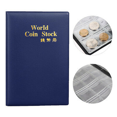 120 Coin Holder Collection Storage Collecting Penny Pockets Album Book Blue Y✿