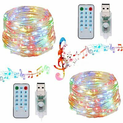 Copper Wire LED Music Fairy String Lights 100LED 33ft Music Light Remote 12 Mode