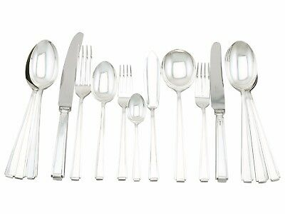Vintage Art Deco Style Sterling Silver 114 piece Canteen of Cutlery 12 Persons