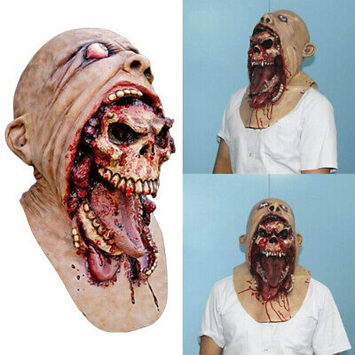 Melting Face Latex Bloody Zombie Mask Halloween Scary Cosplay Prop Costume New