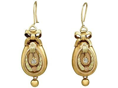 Diamond 14Carat Yellow Gold Drop Earrings - Antique Austrian Circa 1880