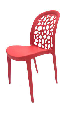 Red Roma Plastic Stacking Chairs, Canteen Chairs, Bistro Chairs