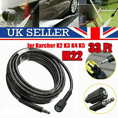 33ft High Pressure Washer Hose M22 Jet Water Clean Pipe fits Karcher K2 K3 K4 K5