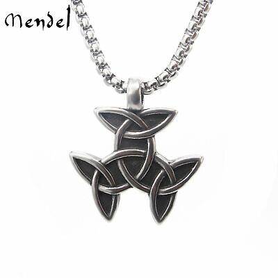 MENDEL Mens Irish Celtic Trinity Knot Triquetra Pendant Necklace Stainless Steel