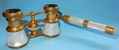 ANTIQUE French MOTHER OF PEARL & BRASS OPERA GLASSES BINOCULARS By IRIS PARIS