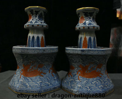 """13"""" Xuande Marked Blue White Porcelain Dynasty Candle Holder Candlestick Pair"""