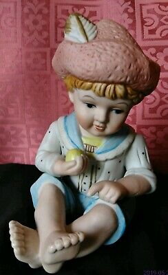 Vintage Piano Baby Bisque Porcelain Boy Holding Apple.
