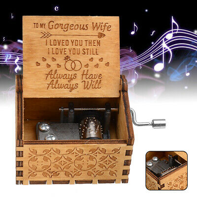 "UK ""To My Gorgeous Wife"" Wooden Music Box Engraved Musical Case Friend Toys Gift"