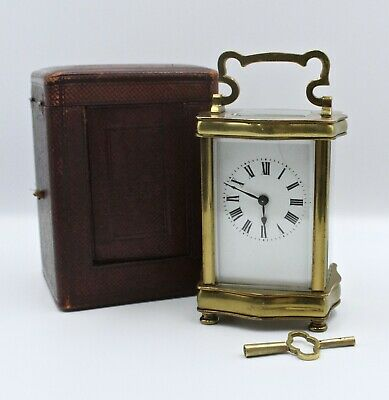 French Carriage Clock In Serpentine Case (with further leather carrying case)