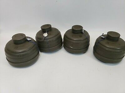 Lot of 4,Vintage, Auer,Military, Gas Mask, FE 55, Filters/Canisters, 1975