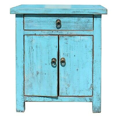 Oriental Distressed Light Aqua Blue Lacquer Side End Table Nightstand cs5180