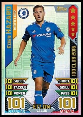 Match Attax 2016/17 Eden Hazard 100 101 Hundred Club Legend No 465 Mint