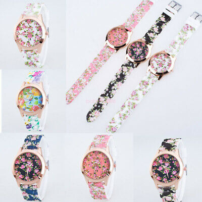 Casua Women's Silicone Watch Printed Flower Causal Quartz Analog Wrist Watches I
