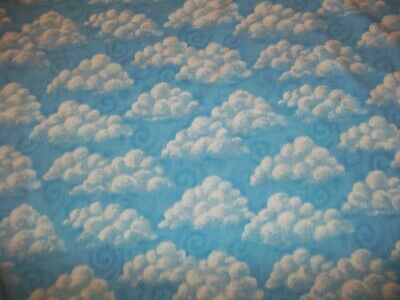 Handmade 100%Cotton  fitted crib sheet, blue with white clouds/Neutral