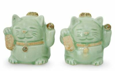 'Fortune Cats' Sculptures Original Thai Celadon Art Ceramic Figurines (2) NOVICA