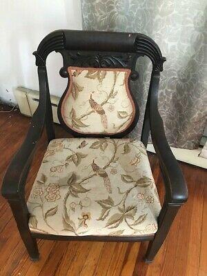 One Antique Carved Wood Living Room Tapestry Chair