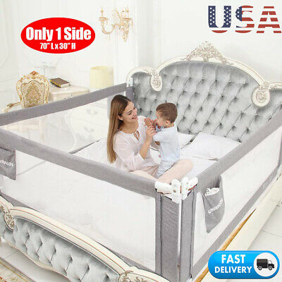 "70"" Swing Down Bedrail Bed Rail Crib Toddler Elderly Child Safety Net Guard"