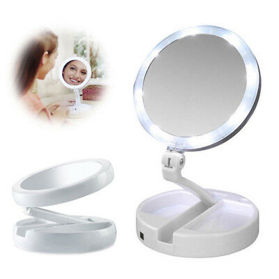 10x Magnifying Makeup Mirror Beauty Stand Double Side with LED Light Cosmetic`PG