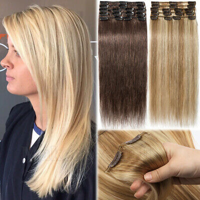 100% Real Clip in Remy Human Hair Extensions Weft Volume Length Full Head AU