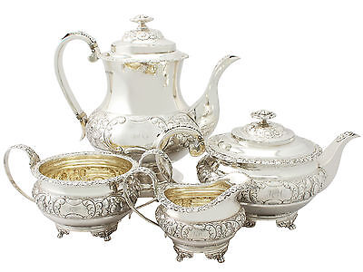 Antique Regency Style Sterling Silver Four Piece Tea and Coffee Set