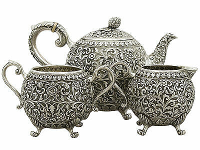 Antique Indian Sterling Silver Three Piece Tea Set 1890s