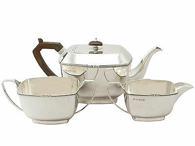 Sterling Silver Three Piece Tea Set - Art Deco - Antique George V